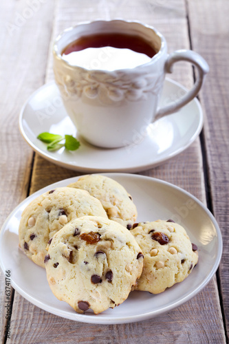 Double chocolate chip cookies and cup of tea
