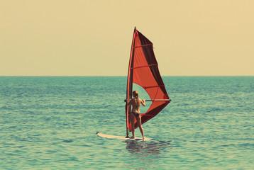 windsurfing - vintage retro style