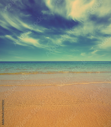 sand beach and sea - vintage retro style