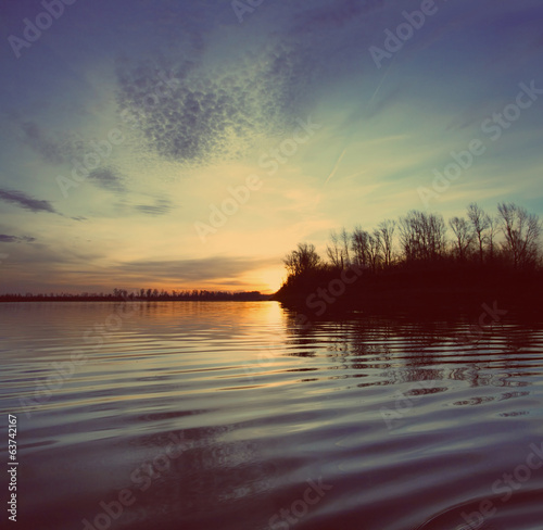 river landscape with sunset - vintage retro style