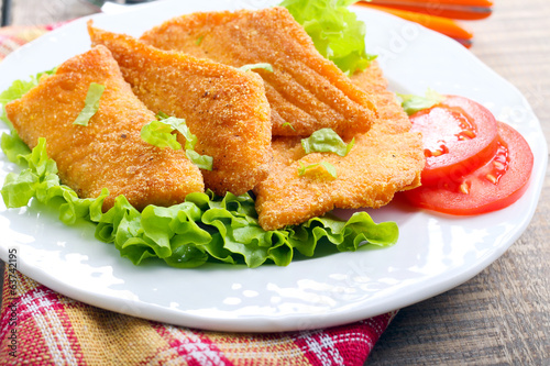 Fried salmon pieces