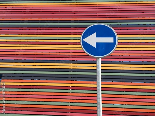 road-sign on multicolored strips background horizontal