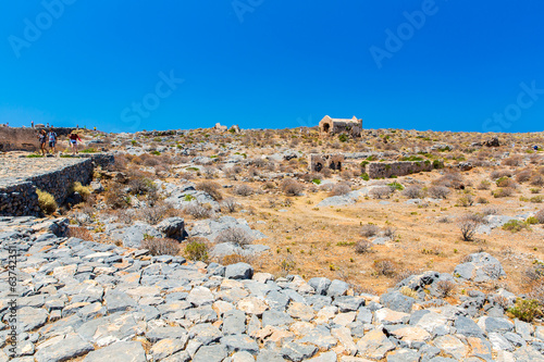 Gramvousa island in Crete, Greece with remains of Venetian fort