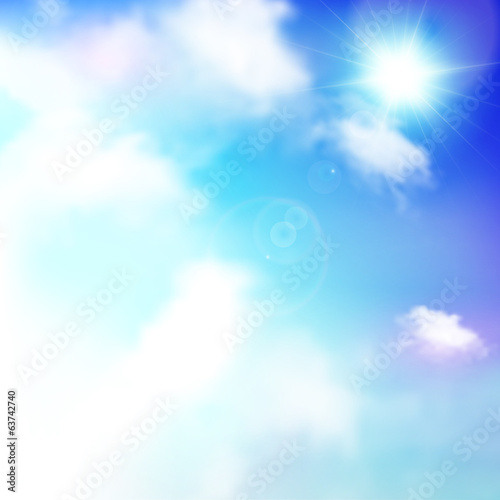 Blue sky with sun and clouds, vector background, banner