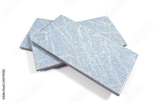 Blue ceramic tiles on white
