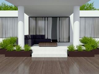 Modern white villa.