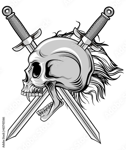 cross swords and skull in vector