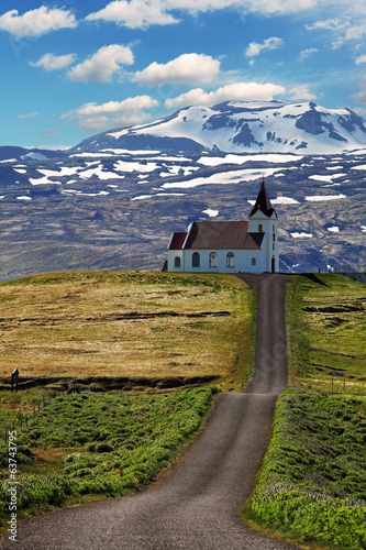 Old small wooden church in Hellnar Iceland