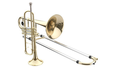 Trombón y Trompeta aislados