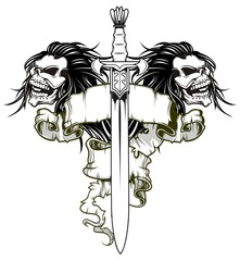 warrior sword and skull