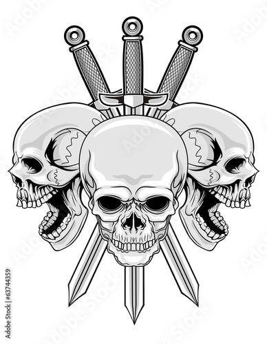three skulls and swords