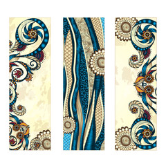 Abstract vector ethnic pattern card set.