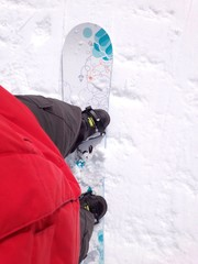 snowboard mit boots von oben