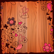 Valentine illustration template doodles on wooden background