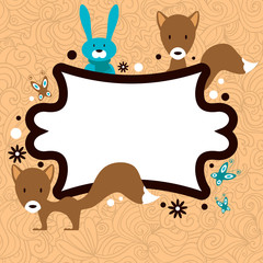 Cute card template frame with adorable wild animals