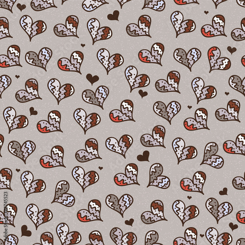 Seamless decorative pattern with hearts
