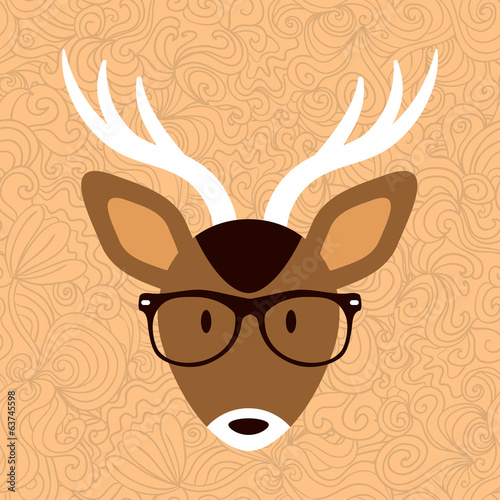 Cute deer in hipster glasses