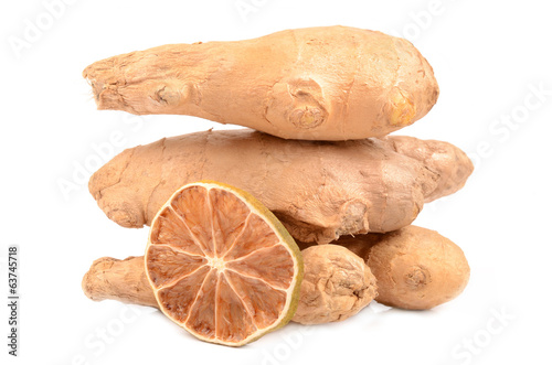 ginger and lemon on a white background