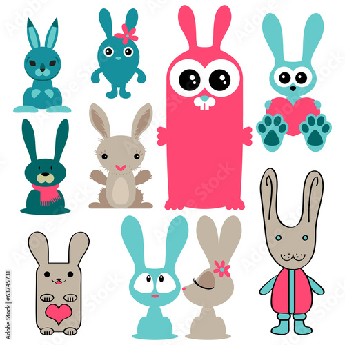 Set of various cute rabbits
