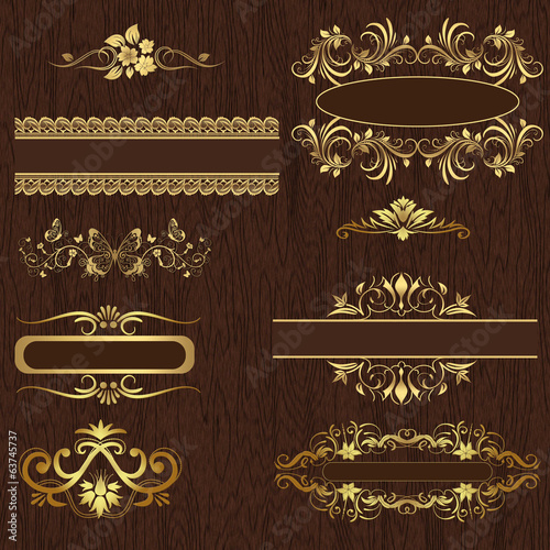 Decorative design elements on wood texture.