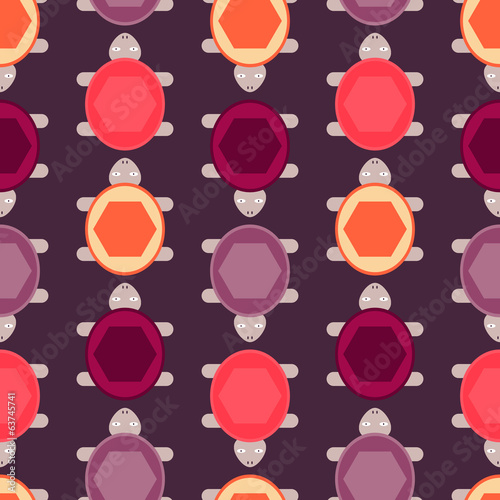 Seamless pattern with colorful turtles