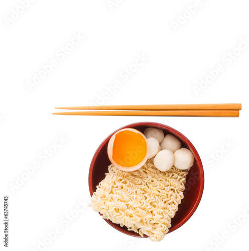 Uncooked Noodle and Ingredients