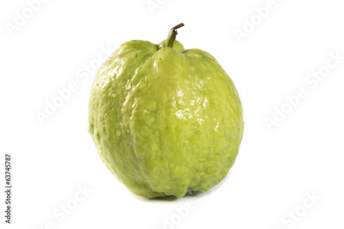Guava fruit on white background.