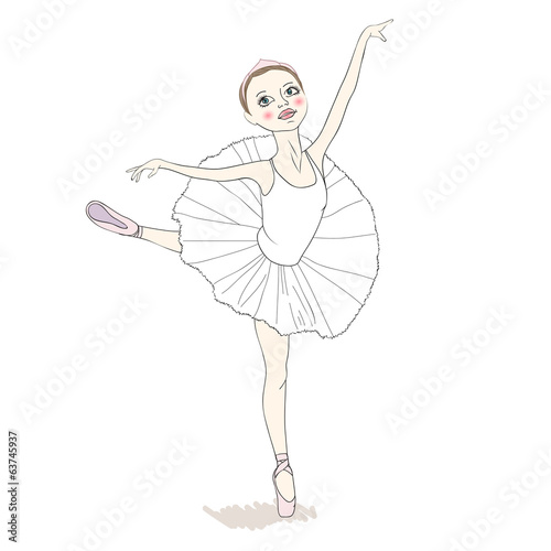 Dancing girl in a white dress and pointe.