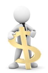 omino bianco con simbolo dollaro