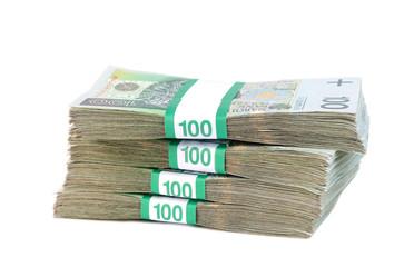 Polish banknotes in bundles