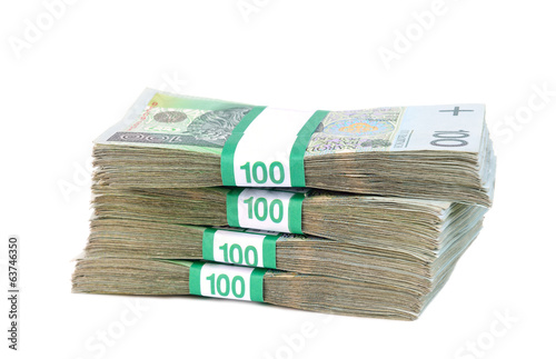 Polish banknotes in bundles