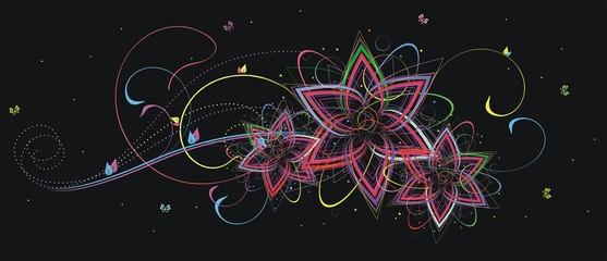 Цветочный орнамент на черном фоне