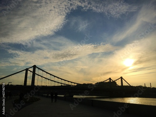 sunset above bridge