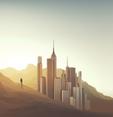 Businessman and city in a desert