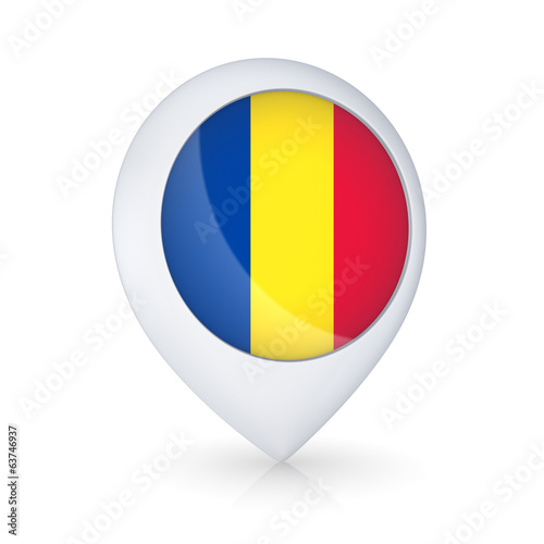 GPS icon with flag of Romania.