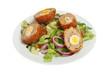 Scotch eggs and salad