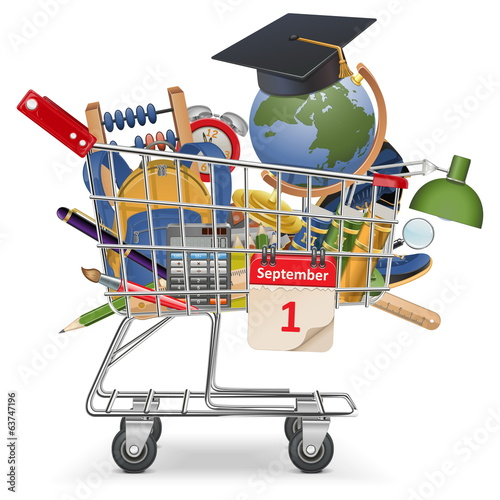 Vector Trolley with School Supplies
