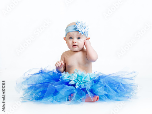 canvas print picture pretty baby girl weared tutu skirt