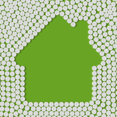 pills concept: home, house, building