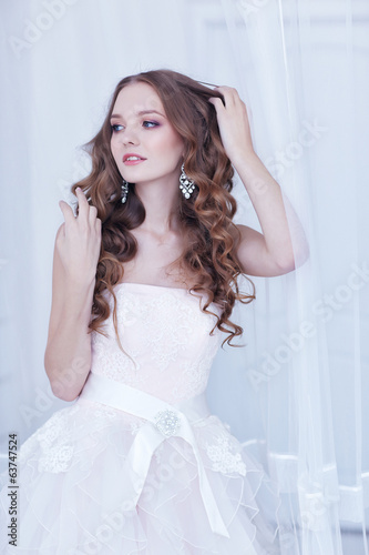 beautiful bride, long curly hair