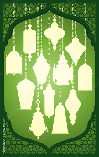 Vector set of ramadan lantern with islamic decorative frame