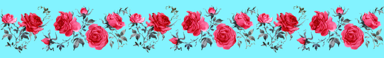 Watercolor Roses seamless border virginia-2