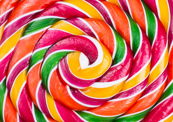 Caramel candy of colorful spirals