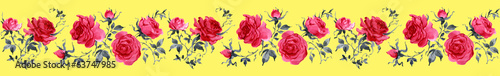 Watercolor Roses seamless border virginia-1
