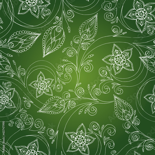 Seamless pattern with flowers, doodles and cucumbers