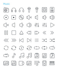 56 Thin Icons Set of music. Simple line icons pack