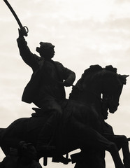 Monument rider on a horse with a sword liberated Rostov