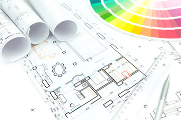 Architectural background with color samples, technical drawings