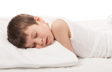 boy in white bed
