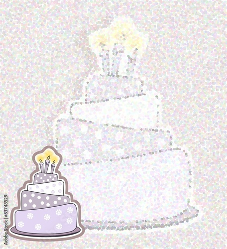 Birthday cake card - pointillism